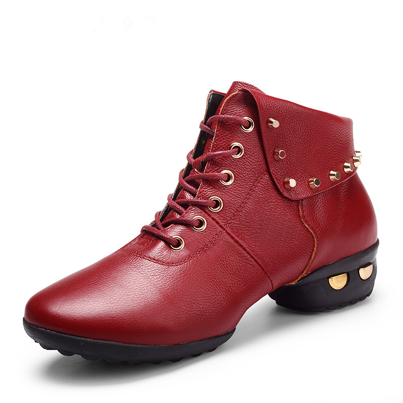 Lek wei in autumn and winter with square leather dance shoes women soft bottom increased fitness dance shoes adult shoes red