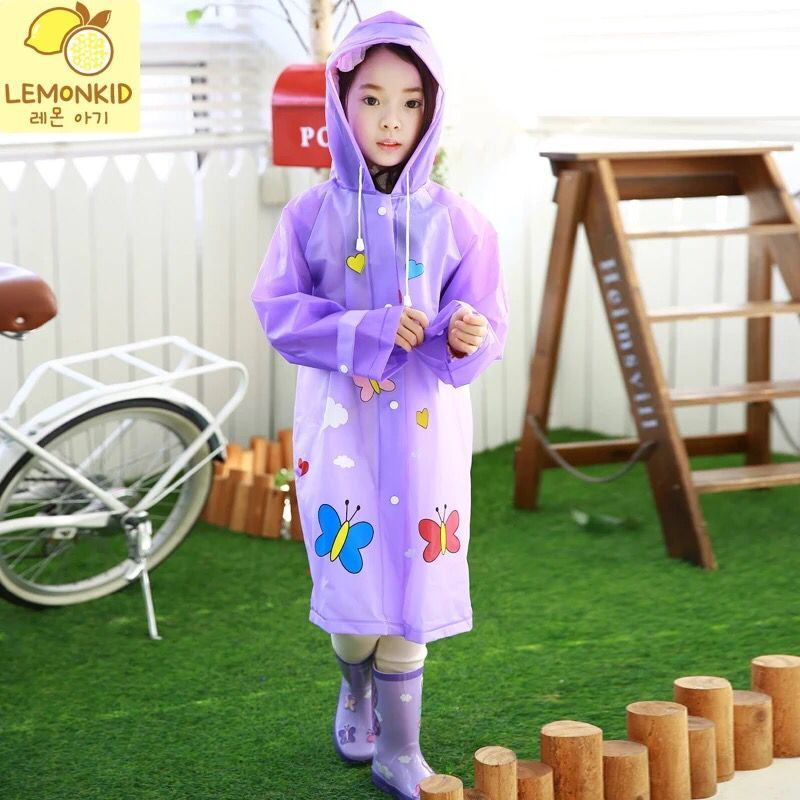 Lemonkid korea selling children's environmental student poncho raincoat baby boys and girls rain boots wellies suit