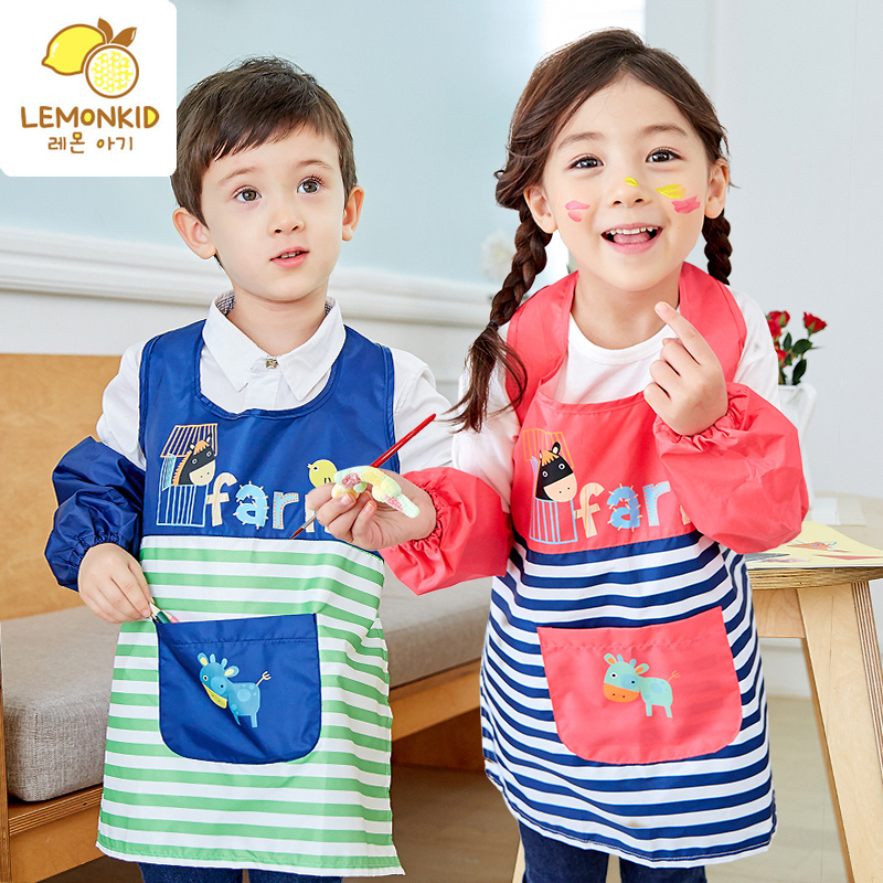 Lemonkid/lemon baby green waterproof gowns children eat paint clothes clothing bib children eat paint clothes clothing anti dressing