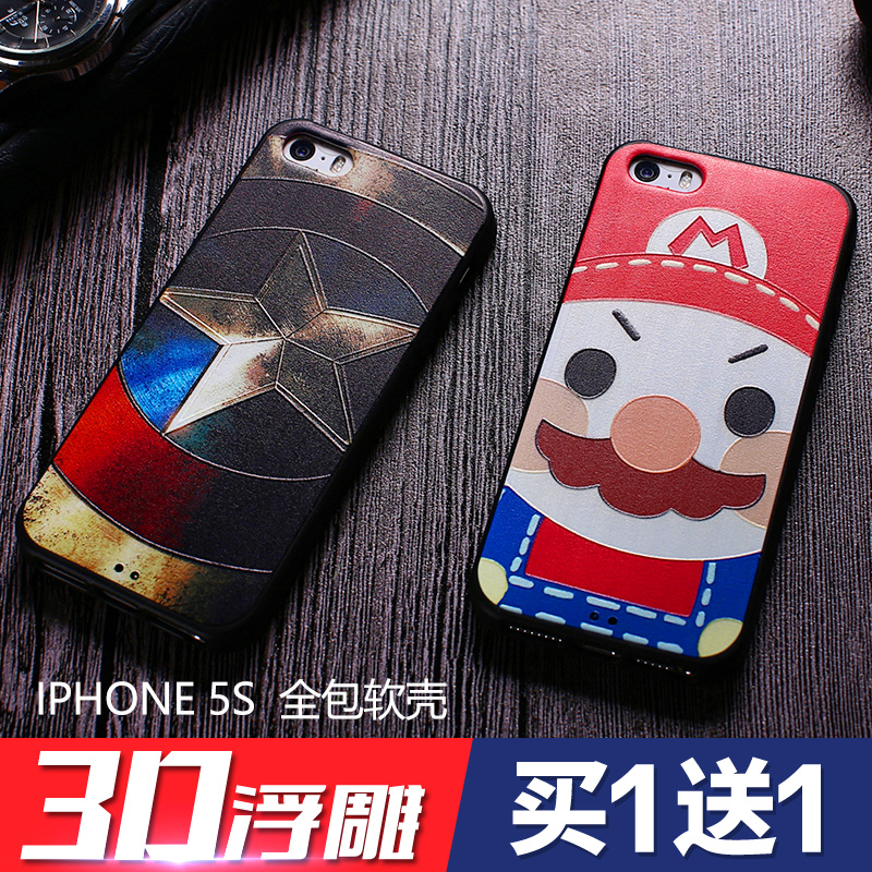 Letter 6æµnew relief iphone5s phone shell apple 5 shell protective sleeve cartoon popular brands of soft silicone