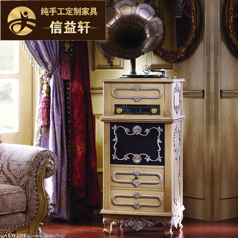 Letter benefits xuan custom copper big horn furniture european solid wood antique gramophone record player vinyl