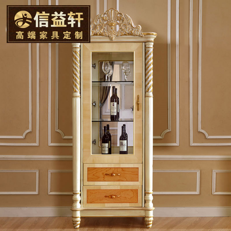 Letter benefits xuan european french living room wood wine glass display cabinet wine storage upscale custom furniture