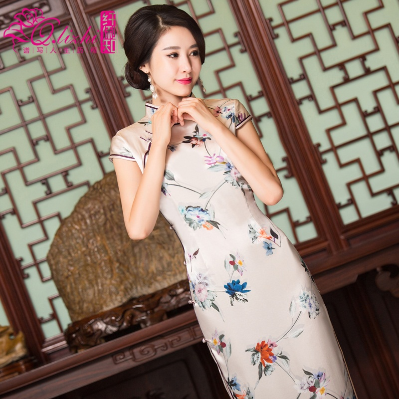Li fiber known plucks mulberry silk daily slim retro fashion improved cheongsam dress long section of korea new models