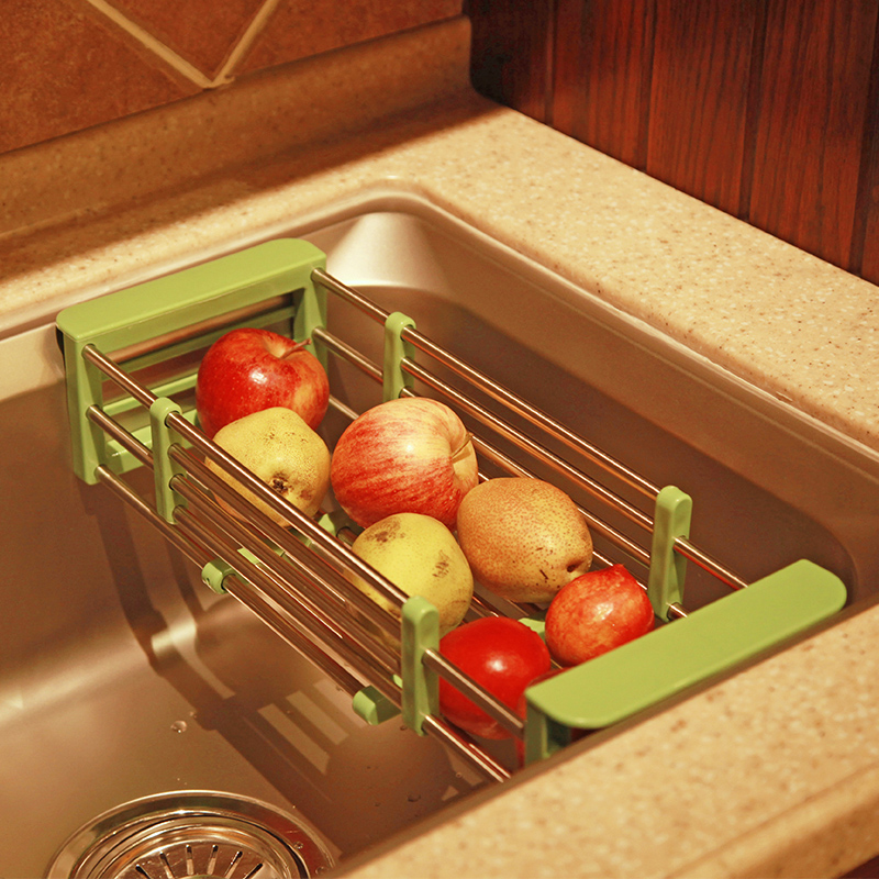 Li jane retractable stainless steel plastic vegetables basket drain basket kitchen sink drain rack dish rack shelving Aircraft