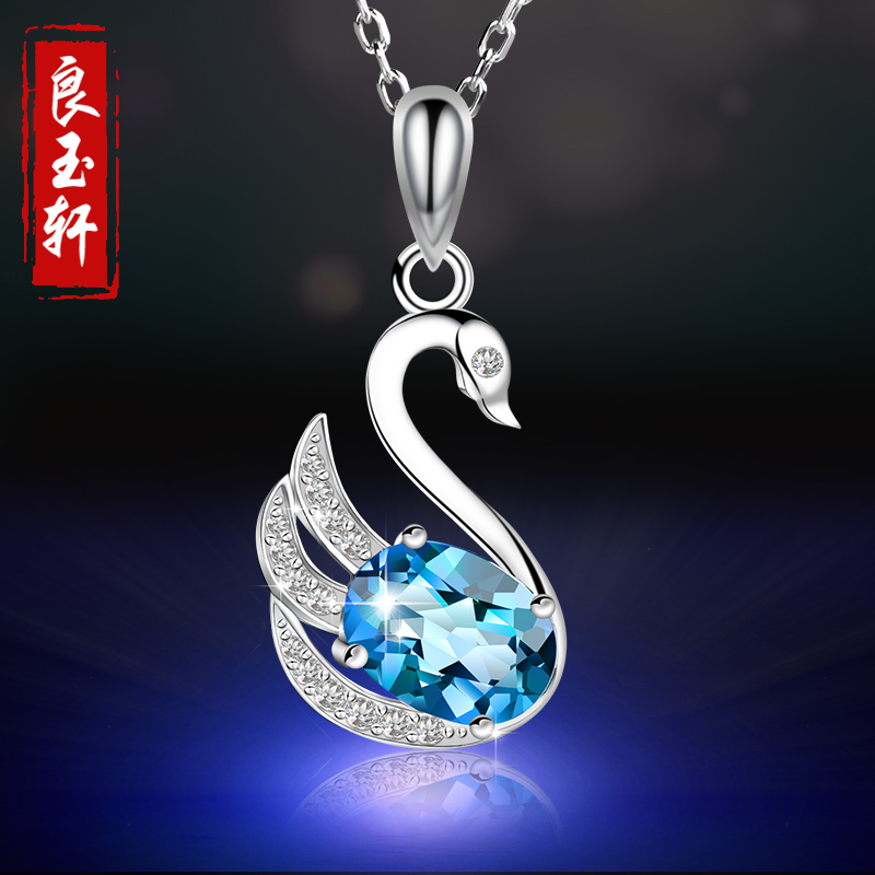 Liangyu xuan 925 sterling silver necklace female swan swarovski elements pendant clavicle chain birthday gift korea