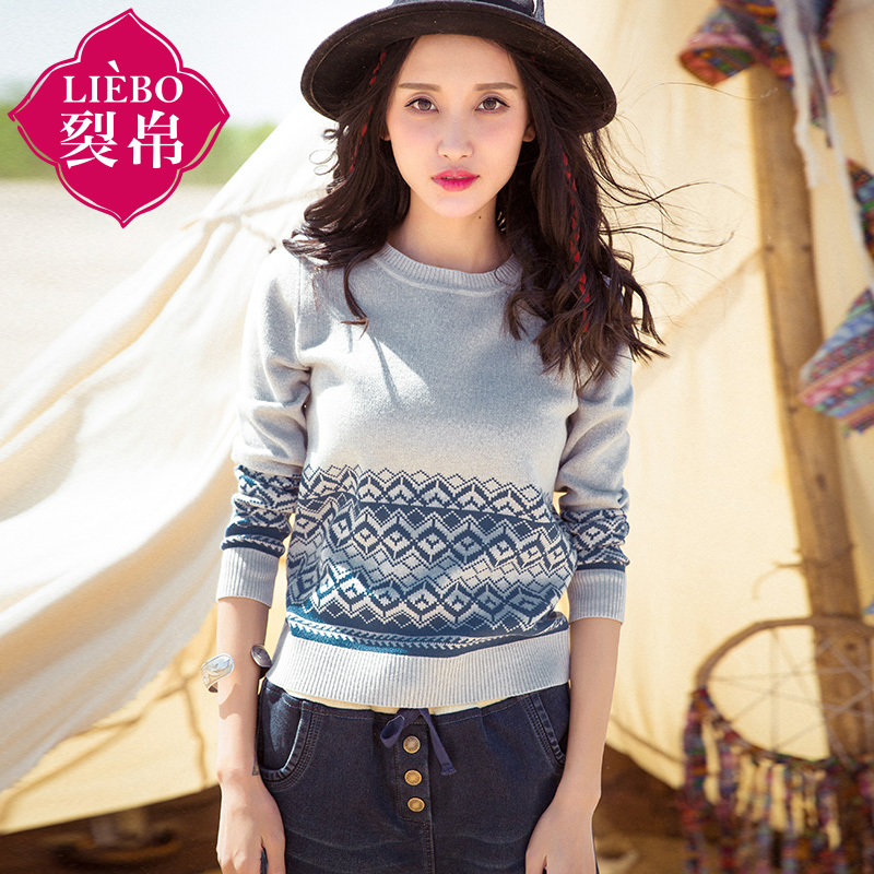 Liebo flagship store 2016 new autumn temperament rib round neck geometric jacquard pullover sweater female 51160595