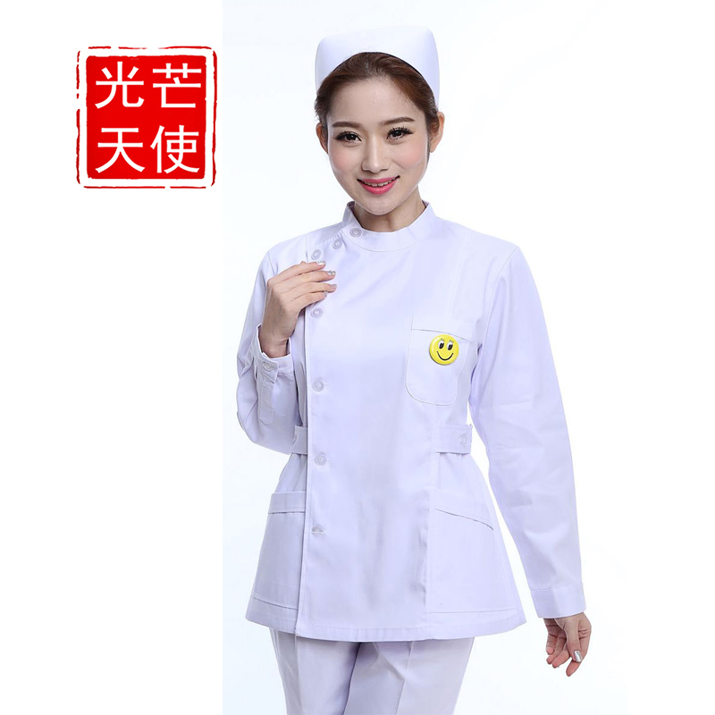 Light angel nurse sleeved winter white coat female doctor clothes suit split oral dental care with disabilities sleeved
