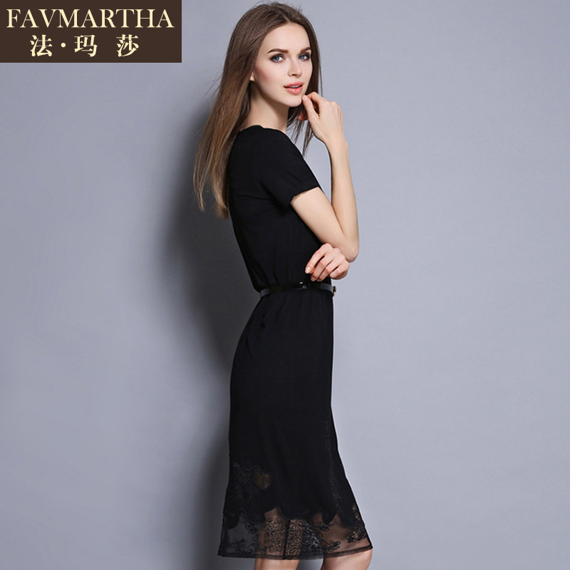 Light luxury brandæ³çèladieswear new european and american temperament openwork embroidery package hip black dress
