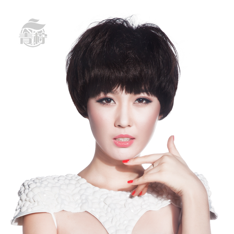 Lime wigs human hair full hand woven craft anchor hair female short hair natural color high counters