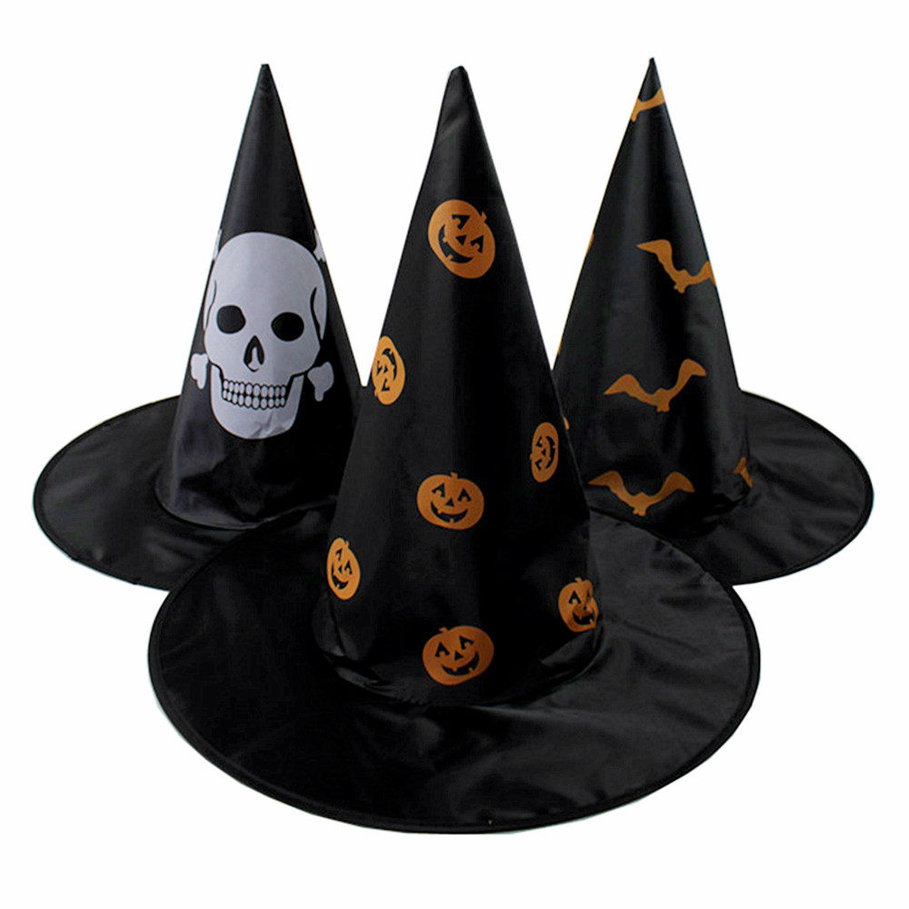 Lin fang halloween masquerade halloween witches hat witch hat terrorism 30g miter hat female cap printing