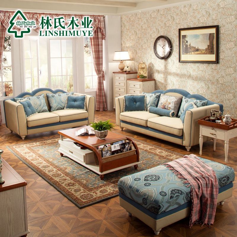 Lin wood mediterranean american country fabric sofa pastoral double + three living room sofa combination of 976