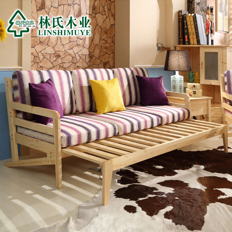 Lin wood pine wood sofa combination living room small apartment multifunctional sofa bed dual sliding H-SF1 *