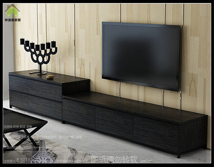 Lin yi us nordic minimalist black oak tv cabinet tv cabinet modern minimalist tv cabinet tv cabinet group in combination coffee table tv cabinet