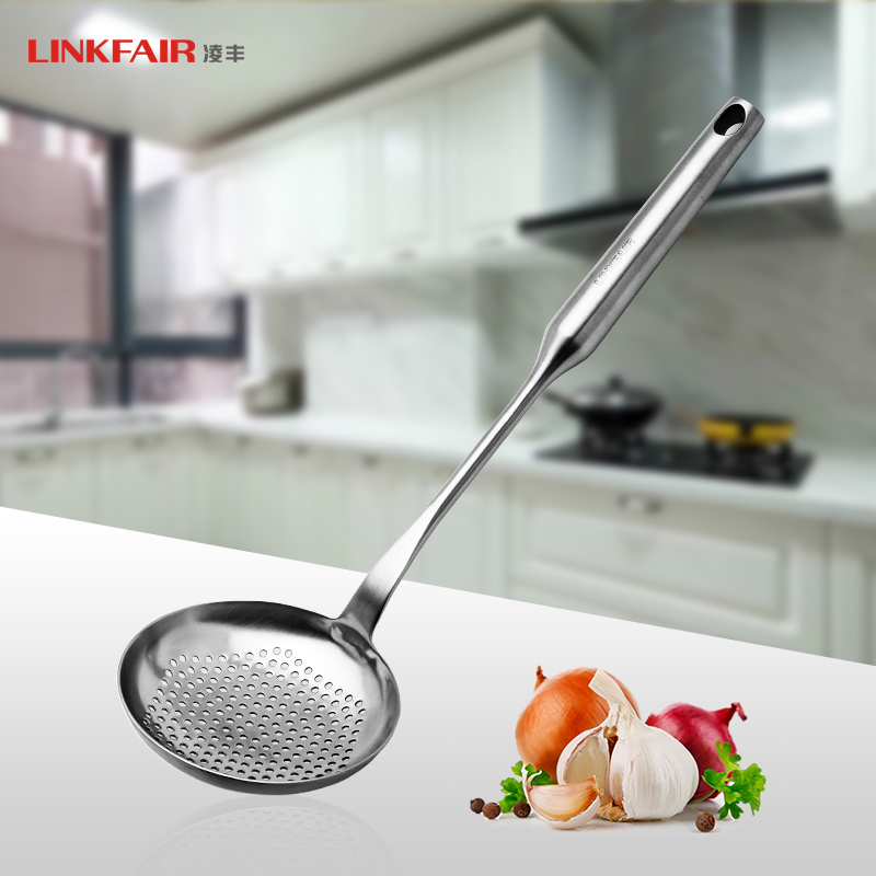 Ling feng kitchenware 304 integrally molded stainless steel colander spicy lo mein spoon big spoon spoon filter