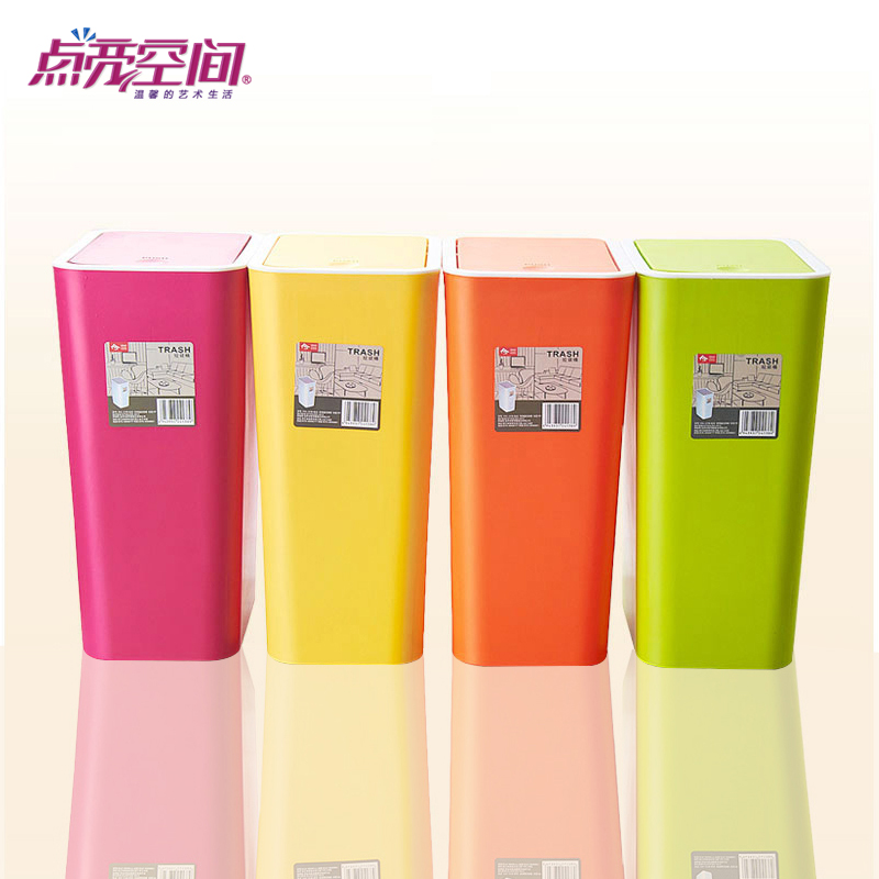 Lit space creative fashion bathroom trash bins for household kitchen living room rectangular shaped plastic trash can with a lid