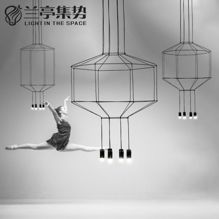 Litb nordic fashion creative personality chandelier modern minimalist art rectangular shaped led chandelier with lines