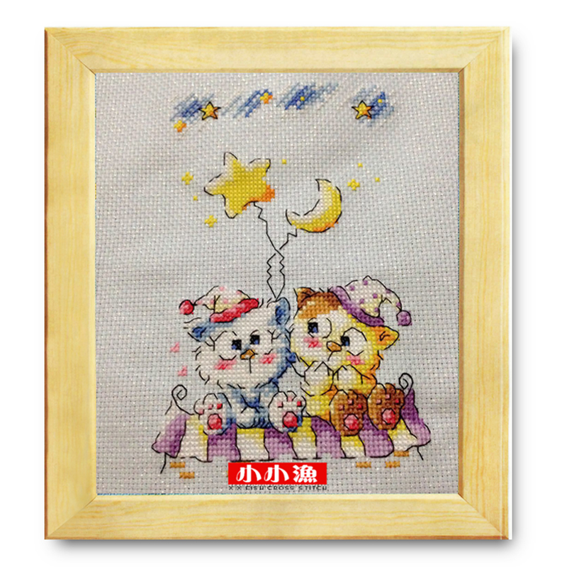 Little fishing egyptian cotton romantic SO4152 [cat] korean version of the lovely accurate printed cloth cross stitch kit