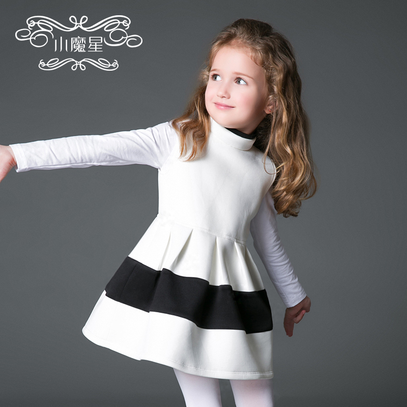 Little magic star european and american children's clothing female autumn 2016 new girls vest skirt winter children even dress princess dress children's clothing