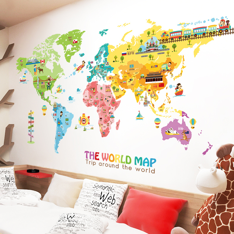China decor wallpaper world china decor wallpaper world shopping get quotations living room bedroom background decoration adhesive cartoon world map wall stickers cute childrens room decor wallpaper gumiabroncs Images