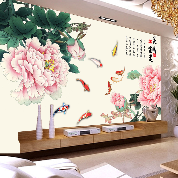 Living room tv background wallpaper mural wall covering chinese wallpaper den sofa bedroom wall covering wallpaper wallpaper