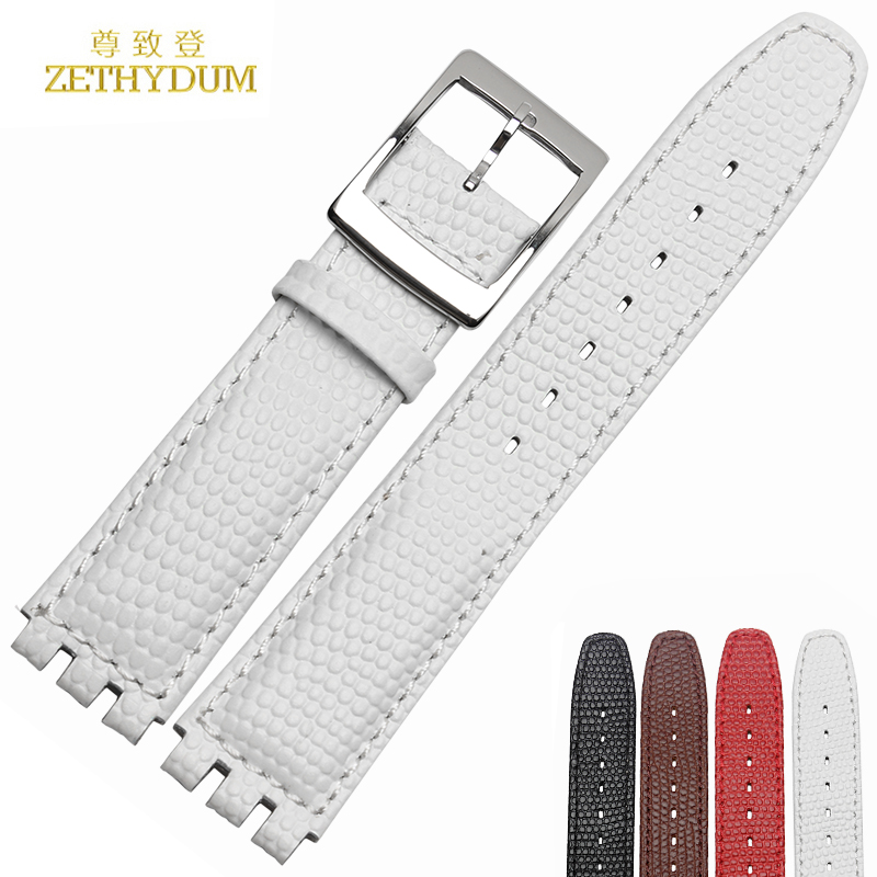 Lizard grain leather watchband applicable swatch thin soft sweat of men and women bracelet watch accessories 17mm female