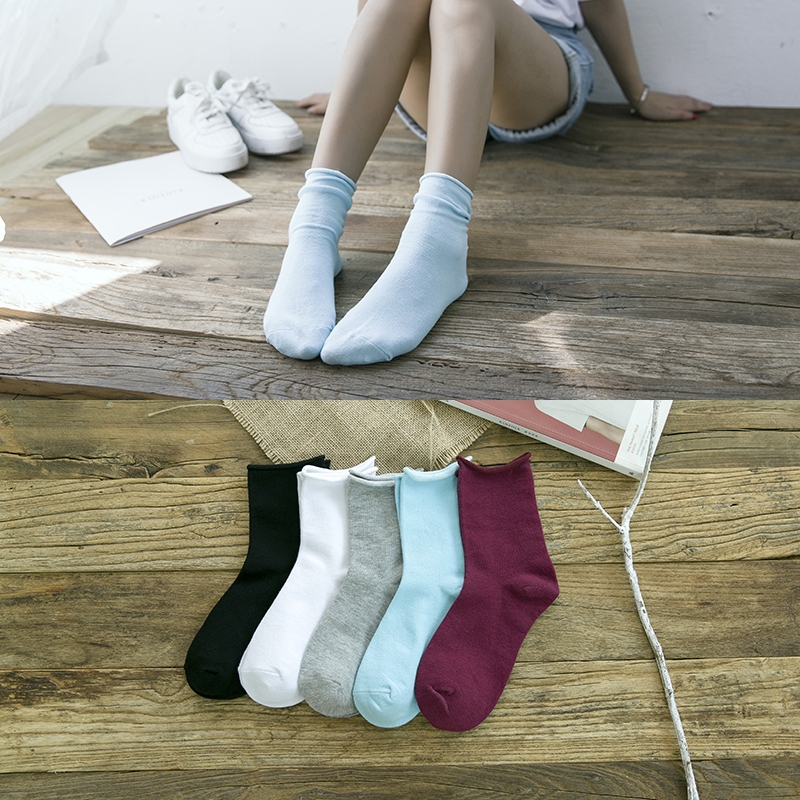Lo chin socks piles of socks female korean autumn and winter college wind retro curling students in tube socks japanese socks