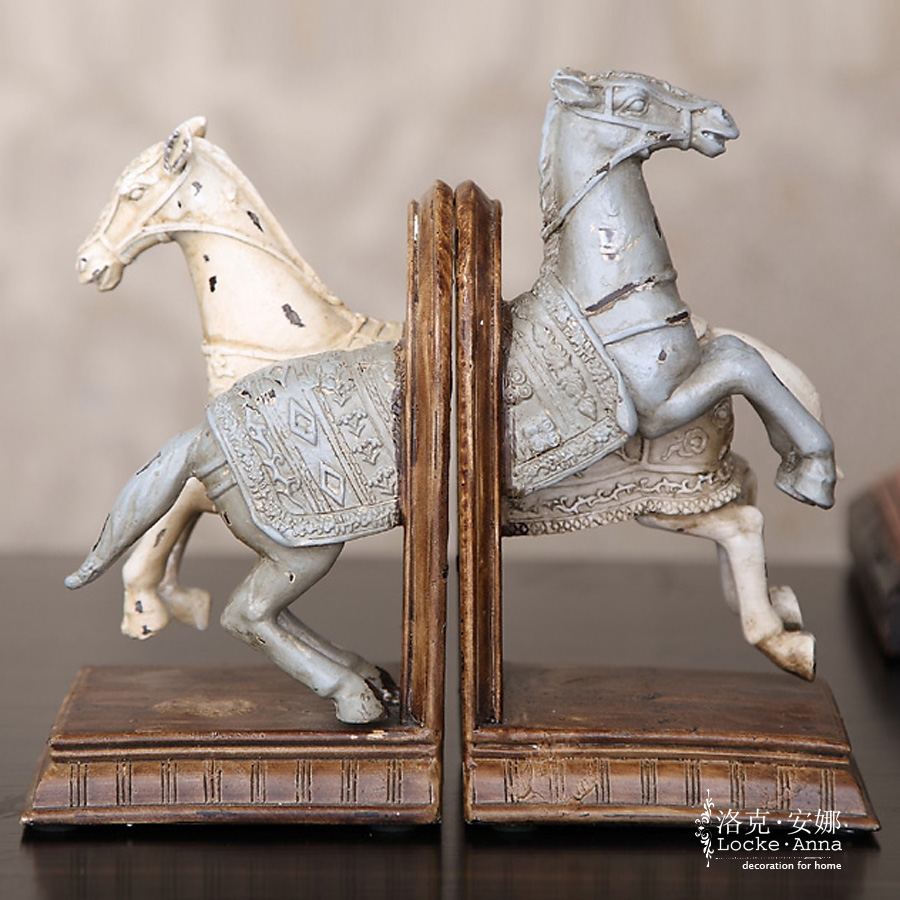 Locke anna european american country retro horse bookends books bookend book by an author resin animal room decoration