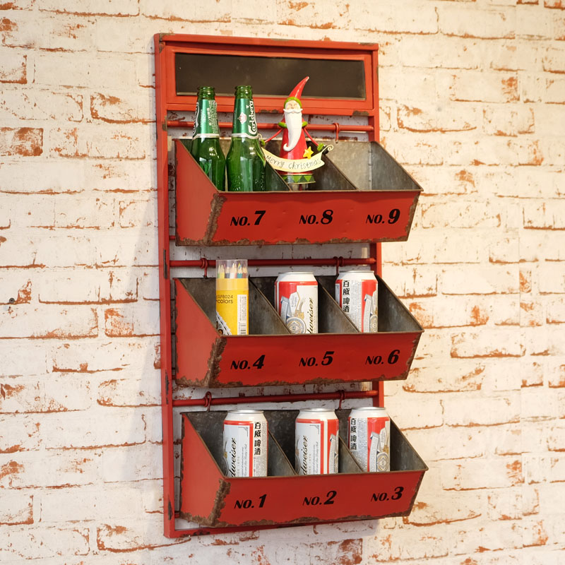 Loft american country to do the old retro red decorative wall mural wall shelf compartment storage rack