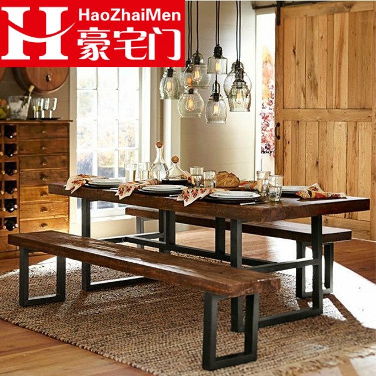 Loft american vintage wrought iron dining table restaurant dining tables and chairs combination of solid wood conference table desk desk desk