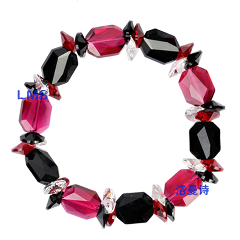 Lohman poetry red and black crystal bracelet female korean korean fashion minimalist shipping gas quality jewelry hand jewelry gift