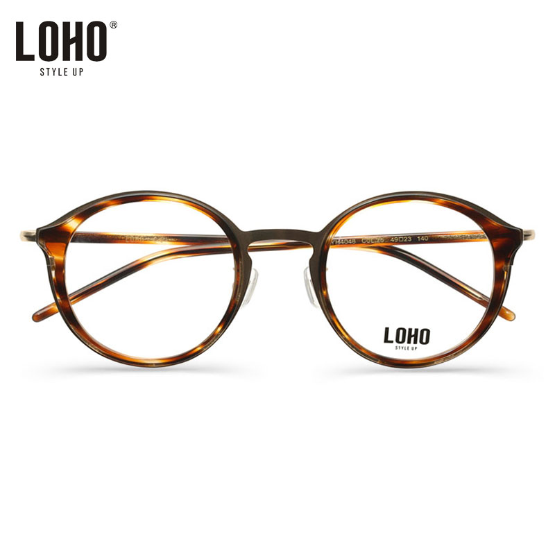2fe91c31faf Get Quotations · Loho female models retro round glasses frame glasses frame  full frame metal plate frame with myopia