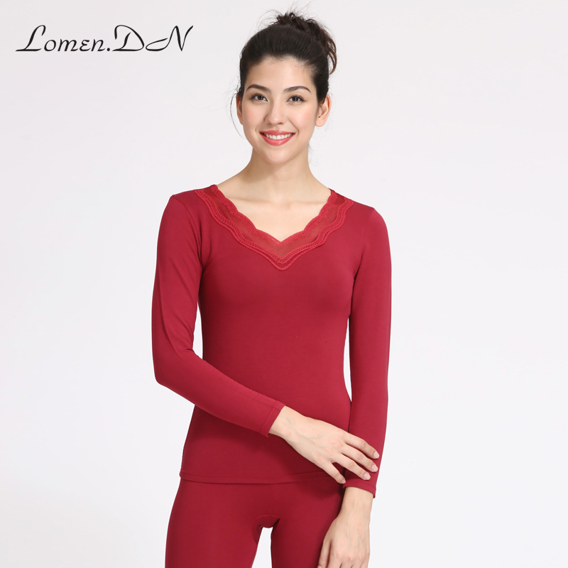 Lomen. the dxi1200 tight v-neck thermal underwear female sanding ms. bottoming basis qiuyiqiuku winter suit