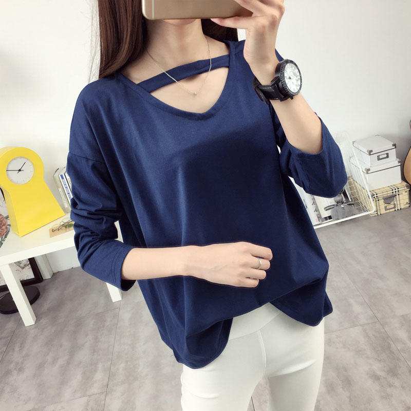 Long sleeve cotton t-shirt female blouses autumn 2016 new wave of korean loose hollow solid color lady bottoming shirt