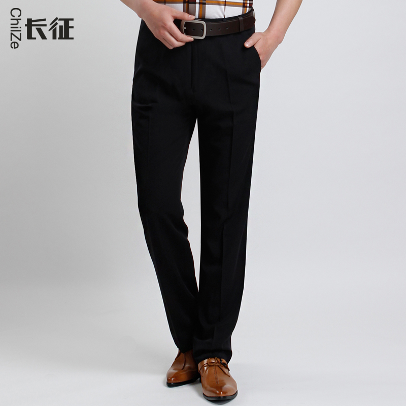 05b9d6f399f Get Quotations · Long thin section of black men s trousers thick loose  autumn and winter new dark business and
