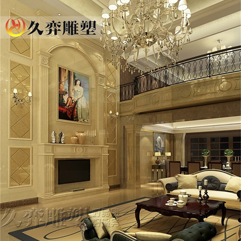 [Long yi sculpture] roman marble stone backdrop backdrop living room decorative wall custom