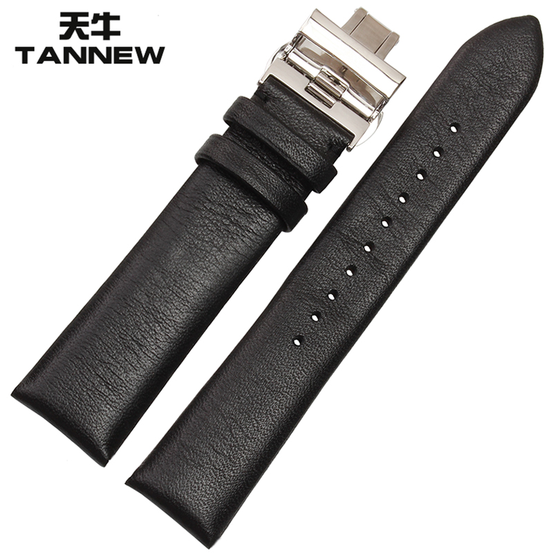 Longicorn leather watchband male folding buckle strap ar0382 applicable armani ar0385 ar1647