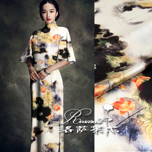 Lothar lyle ● china wind digital printing heavy silk fabric stretch silk satin fabric ink lotus