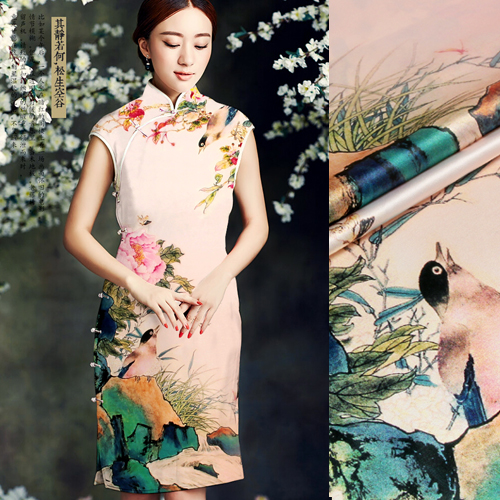 Lothar lyle â china wind digital printing heavy silk stretch satin silk fabric cloth peach branches yingti