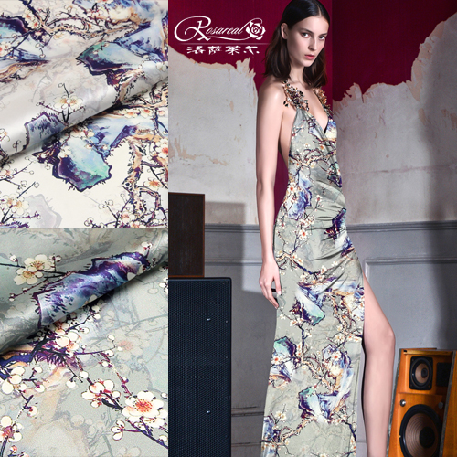 Lothar lyle â china wind digital printing heavy silk stretch satin silk fabric cloth plain pale plum valley