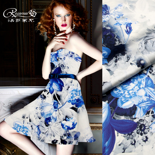 Lothar lyle â china wind digital printing silk stretch satin silk fabric silk fabric blue iris