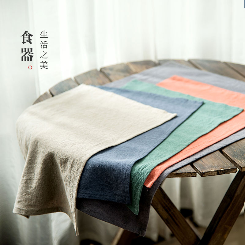 Lototo japanese cotton placemat insulation mat mat mat ikea simple solid color table cloth table linen cloth rectangle
