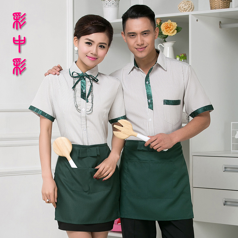 Lottery color pot shops catering hotel overalls summer hotel restaurant waiter overalls summer short sleeve