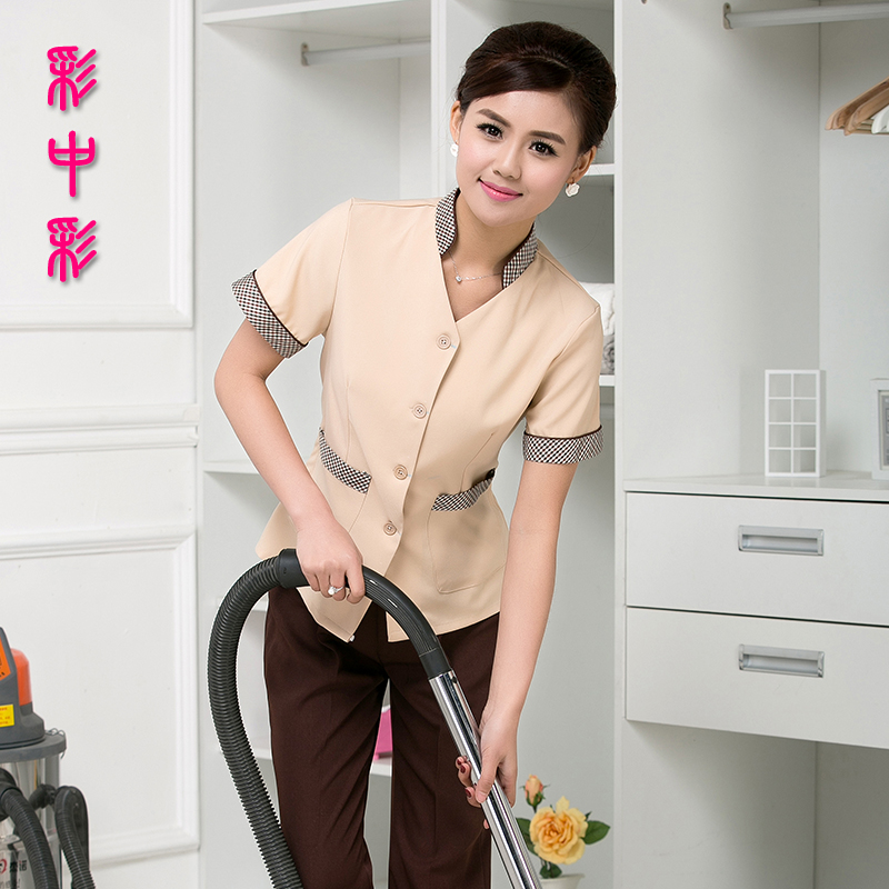 Lottery color short sleeve cleaning service hotel uniforms summer female hotel property cleaning uniforms