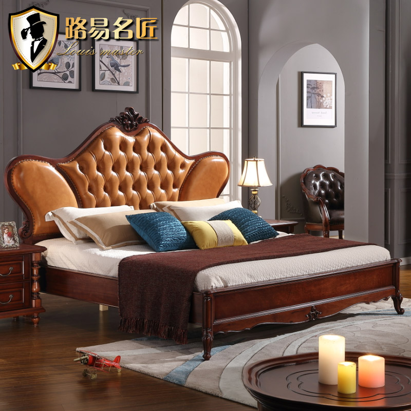 Louis artisan european american bed continental furniture leather bed all solid wood bed 1.8 m double bed specials