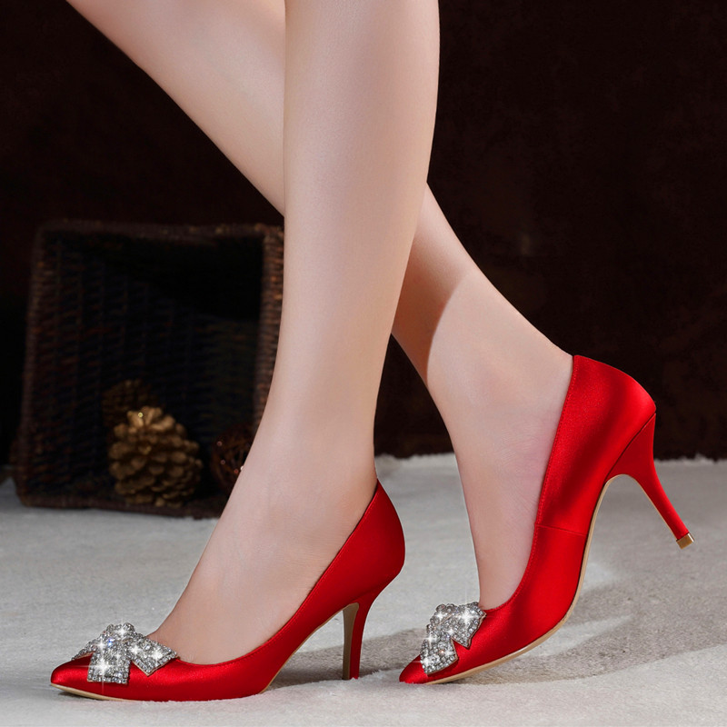 Louis diya red bow diamond bridal shoes wedding shoes high heels shoes autumn shoes big red bridal shoes