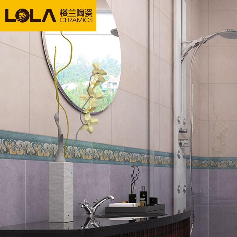 Loulan antique brick tile bathroom waistline imitation marble tile waist motif tile waveguide line