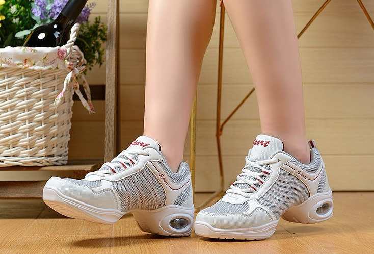 Love best dance summer dance shoes women increased soft bottom shoes white breathable mesh modern square dance shoes women dancing shoes