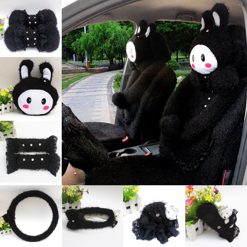 Love cute cartoon rabbit plush winter car accessories kit rearview mirror steering wheel sets of gears sets black
