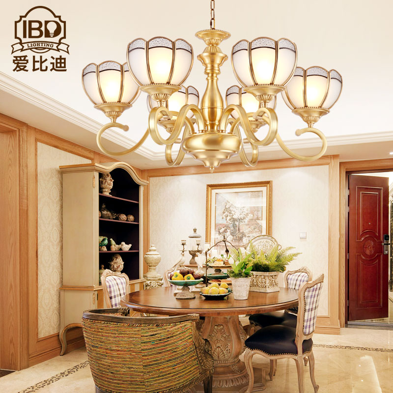Love di led full copper lamps copper chandelier european chandeliers bedroom living room dining hanging lamp american pastoral atmosphere