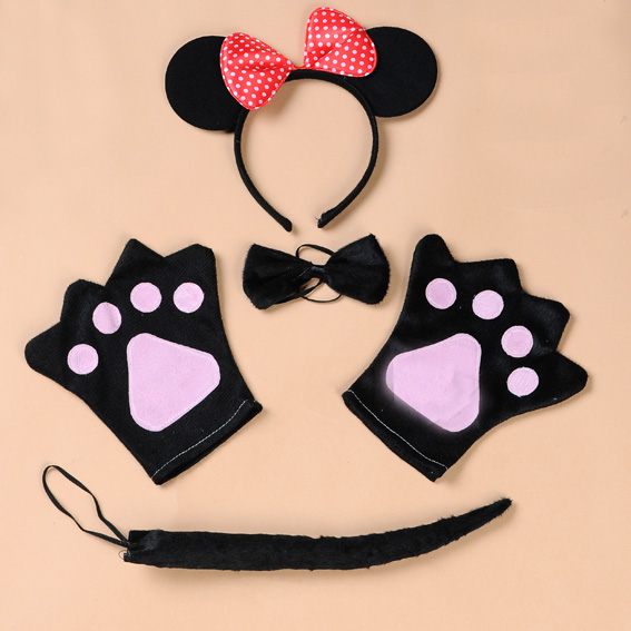 Love horses three sets of a family of four children's halloween headband mickey mickey clothing red and white headband